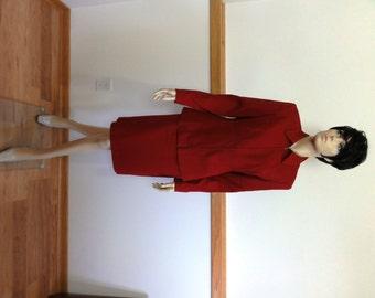 Vintage Skirt Suit, Size 6, Long Sleeve, Red, Lined, Zipper Jacket, Jacqueline Ferrar Retro Skirt Dress #609