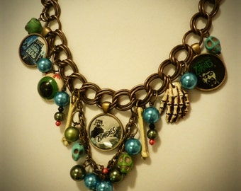 Zombie Necklace Halloween Costume Jewelry With Skulls and Bones and Eyeball