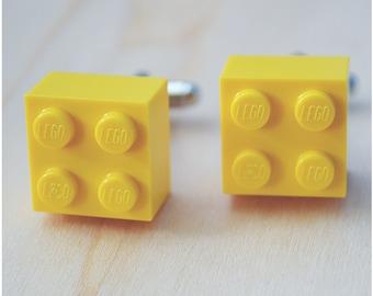 Groomsmen Cufflinks With Lego Bricks - Father's Day - Yellow Cufflinks - Best Man Gift Cuff Links