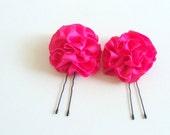 Hair Pins Bright Hot Pink Satin Ruffle Flower Women teens Girls