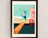 Swimming Pool by D McConochie / Collage Painting / Mixed Media Wall Art by Award Wining Artist - Swimming Pool Art Print / Blue Print