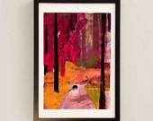 Dog in Woodland by D McConochie /Landscape Wall Art / Red Mixed Media Painting / Collage Art