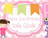 Personalized Monsters Inc Inspired Girls Birthday Bottle Labels - Printable File