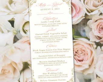 Peach Wedding Menus, Peach, Blush and Gold Wedding Menus, Wedding Menus, Menus, Peach Menu, Peach Wedding Menu, Peach and Gold Menu