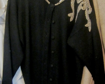 BLACK EVENING SWEATER Piaf lambswool blend Sequins beaded bow on shoulder Size Medium Hong Kong