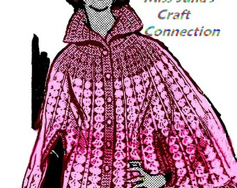 A BEST Vintage Openwork Shell Cape with Collar Miss - Plus Sz 370 PDF Digital Crochet Pattern