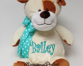 "Personalized, Monogrammed Stuffed 16"" Puppy Dog"