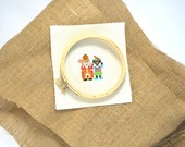 Sinterklaas and Black Piet hand embroidery pattern to make a folklore party invitation.
