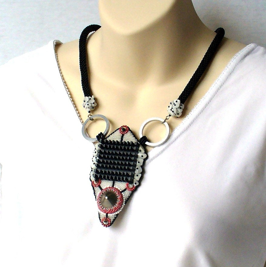 bead embroidery necklace modern abstract industrial