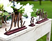 Mr and Mrs Sign, Stained Wood, Mr and Mrs Sweetheart Table Sign, Wedding Signage, Bride and Groom Signs, Reception Decor,