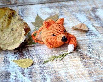 Fox Baby toy,Fox rattle,Baby toy,Woodland animal,Wild baby animal,Orange black green, Forest, Hanging baby toy, Car seat toy, Stroller toy