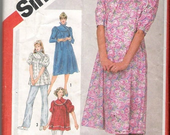 Vintage 1983 Simplicity 5903 Maternity Pullover Asymmetrical Dress or Top Sewing Pattern Size 10 Bust 32 1/2""
