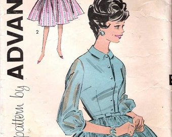 """Vintage 1960's Advance 9243 Shirtwaist Dress with Full Skirt Sewing Pattern Size 13 Bust 33"""""""