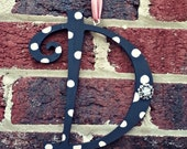 Choose Your Letter Custom Hanging Wreath With Poka Dot Wood  With Jewels Other Colors Available