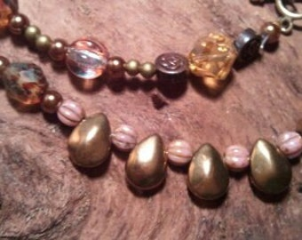 Dropletts of Czech Glass Beads...Gold, Bronze and Topaz