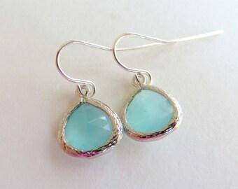 Mint - Aqua Drop and Silver Dangle Drop Earrings