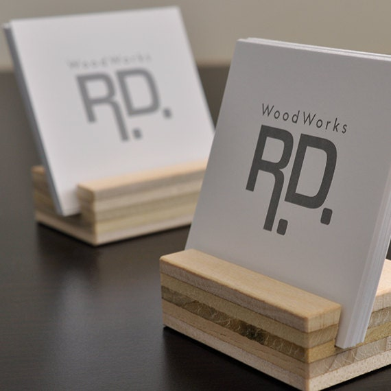 Square business card holder by woodworksrd on etsy for Cheap square business cards