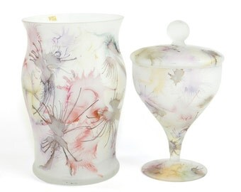"Romania Glass Vase & Pedestal Compote Dish Pair - Handcrafted Frosted Glassware, Unique Pastel ""Splatter"" Style Paint - Vintage Home Decor"