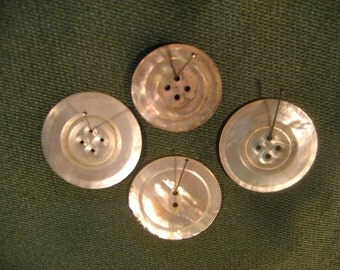 Lot of 4 Antique Mother-of -Pearl Large Size Buttons