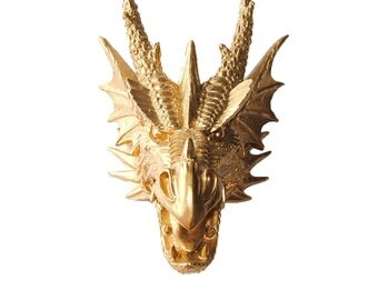 The Draco in Gold - Gold Resin Dragon - Resin Gold Faux Taxidermy- Chic & Trendy Fantasy Mount