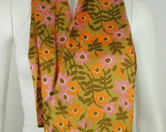 Vintage 1960's Vera Neumann Ladybug Scarf Pink and Orange Floral