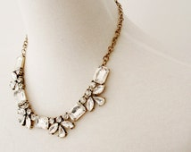 Silver Gold Bridesmaid Necklace Clear Rectangular and Oval Jeweled Crystal Statement Necklace Earrings Set Bib Necklace / Jcrew Necklace