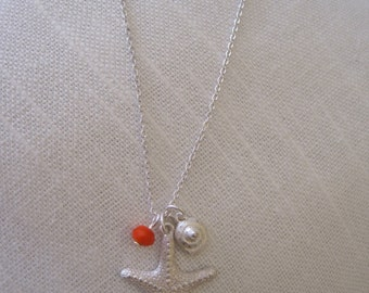 Silver Starfish Necklace with Orange Bead and Shell Charm - Starfish Necklace - SIlver Starfish Necklace - Beach Necklace - Nautical Jewelry
