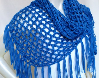 Royal Blue Fringed Shawl, Hippie Shawl, Crocheted Triangle Shawl, Boho Wrap, Women's Accessories, Handmade in the USA, Ready to Ship