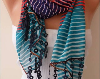 Neon Colors Chiffon Scarf with Lace Trim Edge