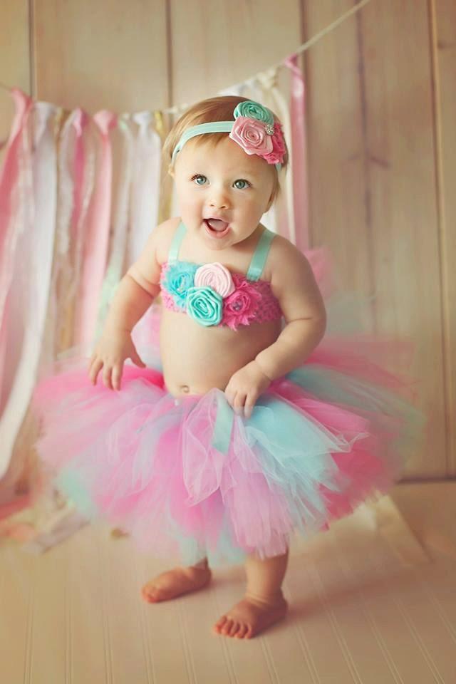 Pink Hot Aqua Shabby Tutu Top Headband Birthday