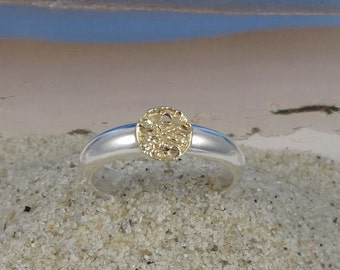 Sand Dollar Stacking Ring 14k Gold and Sterling Silver