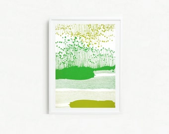 "Large Screen Print ""Vass"" in Green"