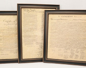 Framed Constitution, Declaration of Independence, & Bill of Rights set. Free Shipping!