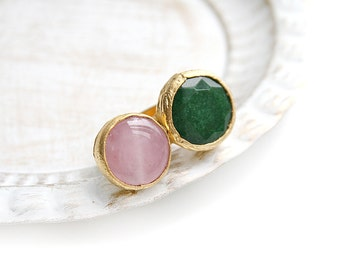 Double Adjustable Green Jade and Pink Quartz Stone Gold Plated Ring