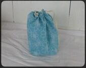 Drawstring Knitting Project Bag - small project bag - Aqua blue floral print
