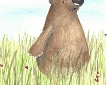 Brown bear in a field, watercolor, pen and ink original illustration