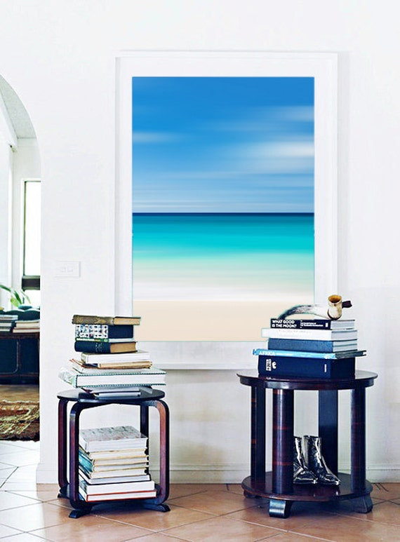 large framed art beach decor abstract seascape photography coastal wall decor blue teal turquoise aqua beige