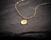 24K Gold Letter Necklace, Initial Necklace, Personalized Necklace, Name, Gold Necklace, Circle Disc Charm