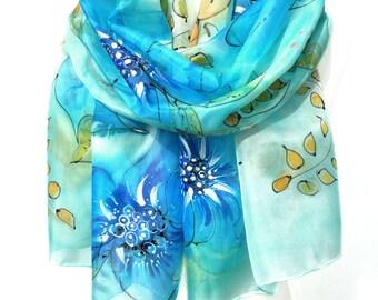 Hand Painted Scarf. Blue Silk Scarf. Woman Birthday Gift. Genuine Silk Art. Aquamarine Shawl. Bridal Wedding. 18x71in. MADE to ORDER