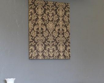 """Brown Damask Burlap Cork Board, Pin Board, Memo Board 16"""" x 20"""""""