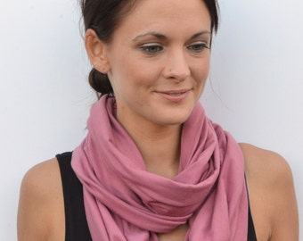 Womens infinity scarf, soft scarf, pink scarf, elegant scarf, summer scarf, gift for her