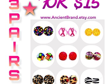 Pick Any 3 Pair of Small Button Earrings 7/8 for 15