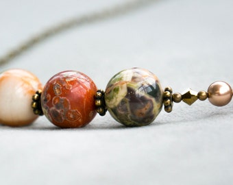 "Handmade Necklace ""Majestic Earth"" Collection - Antiqued Brass, Ocean Jasper, Swarovski Crystals, Swarovski Glass Pearls"