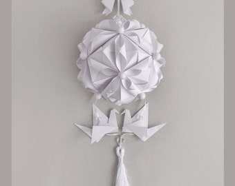"""Paper Mobile """"Pure love"""" - Wedding gift - Wedding Decoration - Modern mobile - origami - hanging paper mobile - anniversary - white mobile"""