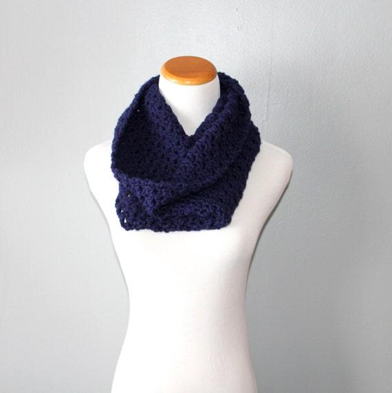 SALE Crochet Cowl Scarf Neck Warmer in Navy