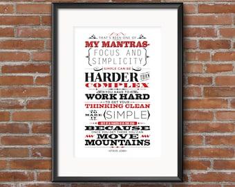 Focus and Simplicity Art Print- Steve Job famous quote- Inspiring & motivational type design poster