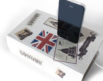 London Collage - iPhone 6, iPhone 5 Charger or Samsung Galaxy S4 Dock - Travel Hollow Book Box Charger, Docking Station, Desk Accessory