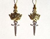 Crown and Sword Earrings