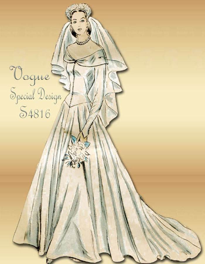Sewing pattern 1940s dress vintage vogue s by for 1940s wedding dress patterns