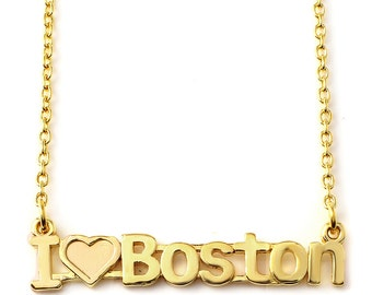 I Love Boston nameplate Necklace in Sterling Silver